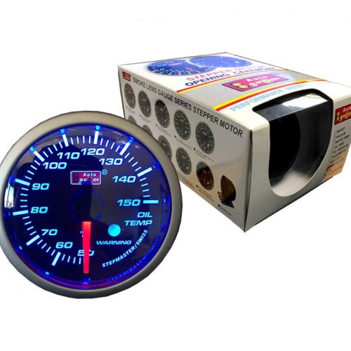AUTOGAUGE Oil Temp Gauge Blue LED STEPPER Series + Warning Light