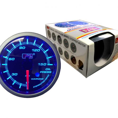 AUTOGAUGE Oil Pressure Gauge Blue LED STEPPER Series + Warning Light