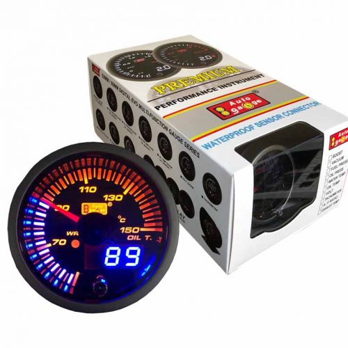AUTOGAUGE Oil Temp Gauge JDM Series + Adjustable Warning Light